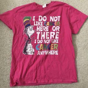 Tops - hot pink cancer awareness dr suess t shirt